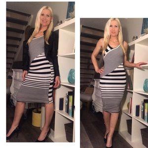 Striped Body Contouring Midi Dress 🤩
